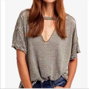 Free People Heather Grey Cutout V Neck Tee Small
